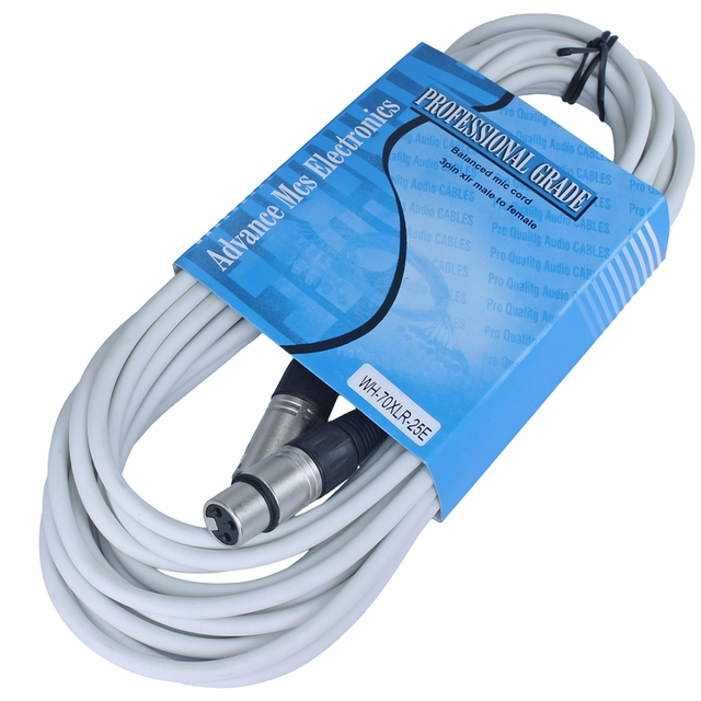 MALE TO FEMALE XLR CABLE 25FT WHITE | MCSproaudio - XLR Cables - By ...