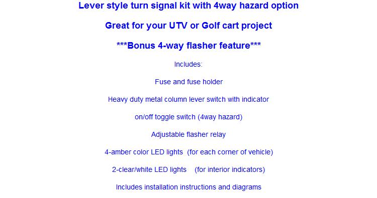 MCS UTV Lever switch turn signal kit - Round LEDs | ATV / UTV Turn Utv Turn Signal Toggle Switch Wiring Diagram on turn signal wiring diagram, vw bug turn signal switch wiring, turn signal buzzer wiring, turn signal flasher wiring,